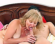 Old mom gets pleasure from sucking and riding her son's hard cock