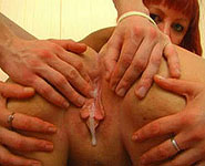 Hot moms play with strapon and get creamed by son