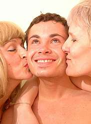 Mature bitches in dick hardening incest action threesome