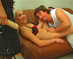 Father fills his daughter and her sexy friend with cock