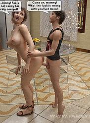 Une scène de sexe incestueuse à quatre queues incestueuses avec un milf chaud et son mari avec leurs progénitures effectuées sur des mouches espagnoles