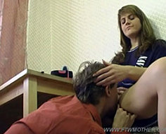 Seductive mama lets her virgin son taste her pussy and ends up riding him