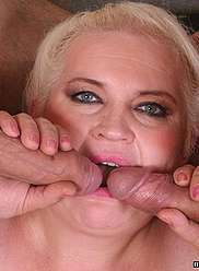 A son and a father are drilling fat mother's pussy