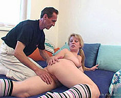 Blonde takes her father's cock from the backdoor and gets creamed by him