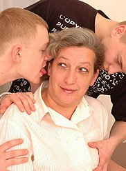 Mature mom enjoying her son's and his friend's hard cocks
