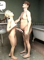 Svelte babe helped guy to take bath and after that prepared bang for him