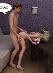 Adorable ado à queue de cochon séduit son papa en essayant sa fente serrée