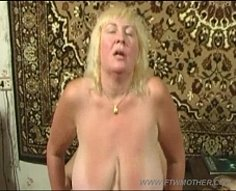 Young wanker gets busted by his chubby mom and offered to stretch her slit