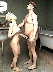 Svelte babe a aidé mec à prendre un bain et après cela préparé bang pour lui