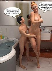 Blonde maman laisse son fils la regarder prendre un bain et la baiser insensée