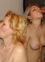 Horny mom and her daughter feast upon male family beef