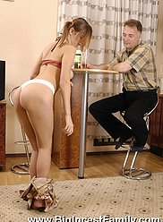 Daughter teases her dad with a striptease and gets slammed