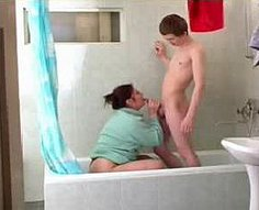 Cock-hungry mother seduces her teen son with a blowjob