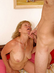 Hung youngster bangs the shit out of his yummy blonde mother's hole