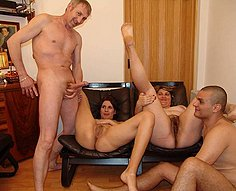 Daughter and mom open mouths to please dad and son's cocks