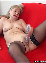 Son catches his mom with a dildo and fucks her hard
