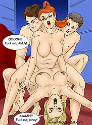 Wild incest porn comics exposing a dirty family of four in all their glory