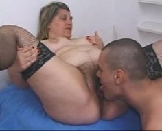 Loose plump mother with bushy fuck hole gets shagged and licked by her son