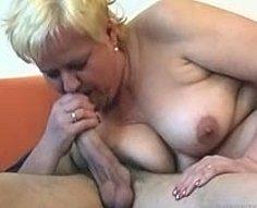 Blonde oldie talks her grandson into stretching her wet snatch