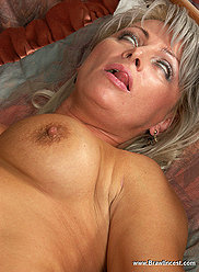 Skinny son helps his raunchy full blonde mama satisfy her hunger for cock