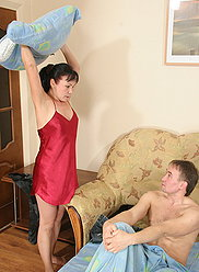 Full mature lady bitches at her son and makes him give her a nice hard fuck