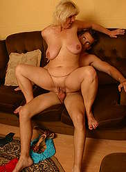 Yummy old hoochie fucks her grandson before he can say a word