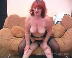 Mature fatty gets her portion of incest sex in front of all-seeing cameras