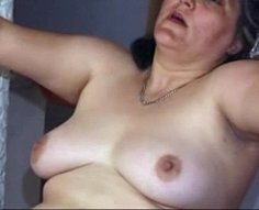 Mature plumper with extremely hairy twat lets her tender sonny eat her out