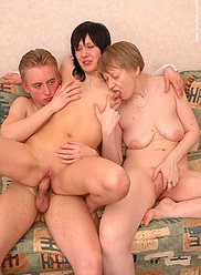 Mature mother fucks with newly married son and his wife