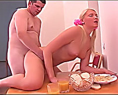 See adorable petite blondie making out with her mom's brother