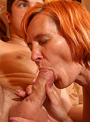 Redhead mother drains all cum from her horny young lover