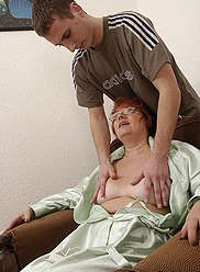 Hot granny in sexy black stockings gets one on with her beloved sonny