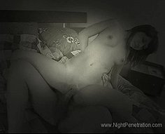 Petite teenage brunette goes for a ride on her brother's dick half-asleep