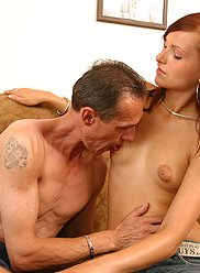 Sexy slim daughter lures her old father to sex
