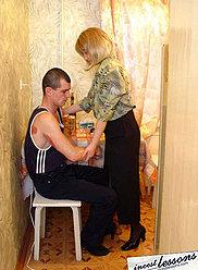 A horny mom seduces drunken young son