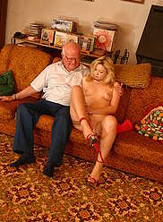 Fat old fart submits to his little granddaughter's seductiveness
