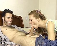 Hairy stud gives his fair-haired sister a good one down her fresh snatch