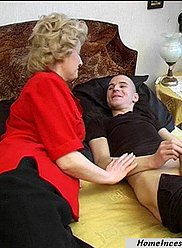 A fancy blowjob done by a mature blonde lady