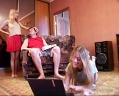 Nasty fat pervert's teenage daughters playing with daddy's cock like sluts