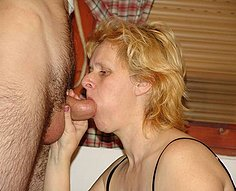 Blonde mom guzzles down jizz from her son's rod