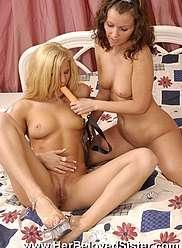 Brunette jolie tarte pénètre à peu près sa sœur blonde plus âgée