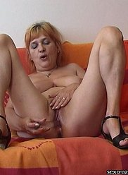 Sexy old mother masturbates and gets fucked by her son