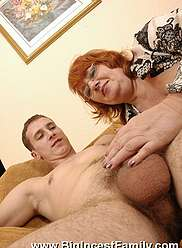 Mean sister films her brother stuffing granny with his dick