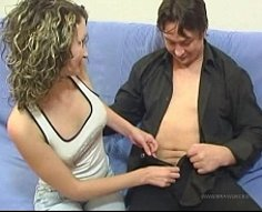 Dad helps his curly pumpkin get rid of her clothes and probes her wet slit