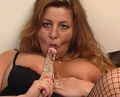Curvaceous mother fucks her horny son after dildoeing her pussy