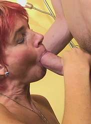 A son and a mother are having wild anal sex