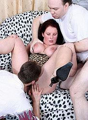 Aged brunnette in lingerie gangbanged