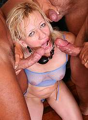 Horny brothers triple penetrating their cock hungry mother