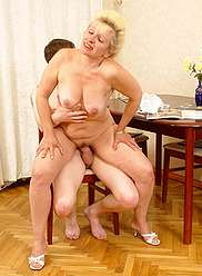 Seductive blonde mother seduces her horny son