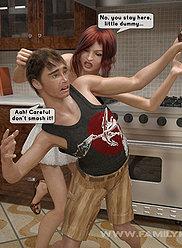 Mélange magique que le garçon et la fille ont fait maman et papa déchirent leurs vêtements